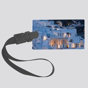 Oia. Close-up of villas on cliff Large Luggage Tag