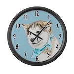 Siberian Husky Puppy Large Wall Clock