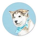 Siberian Husky Puppy Round Car Magnet