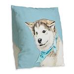 Siberian Husky Puppy Burlap Throw Pillow