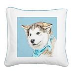 Siberian Husky Puppy Square Canvas Pillow