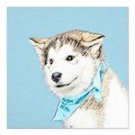 Siberian Husky Puppy Square Car Magnet 3