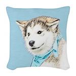 Siberian Husky Puppy Woven Throw Pillow