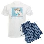 Siberian Husky Puppy Men's Light Pajamas