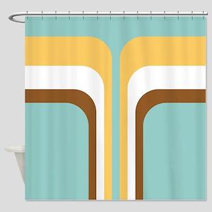 Retro Geometric Blue Shower Curtain