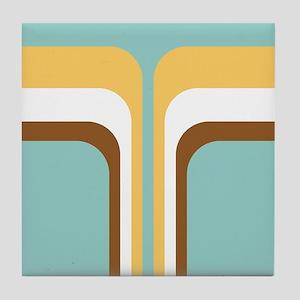 Retro Geometric Blue Tile Coaster