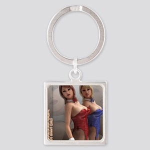 HotGirls3D Sexy Bunny Girls Square Keychain