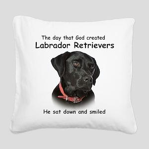 Black Lab Square Canvas Pillow