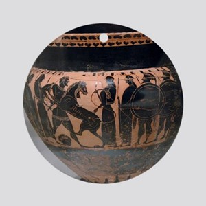 Krater painted with black figures r Round Ornament