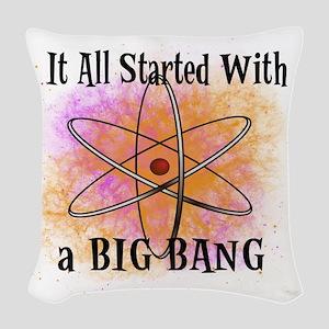started big bang Woven Throw Pillow