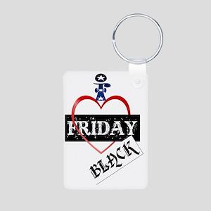 I Love Black Friday Trans Aluminum Photo Keychain