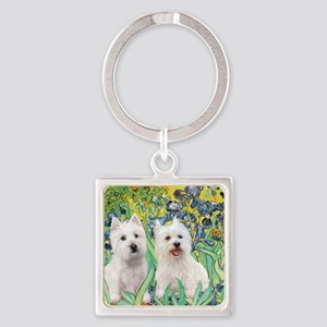 MP2-rises-Westies 3and11-smaller Square Keychain