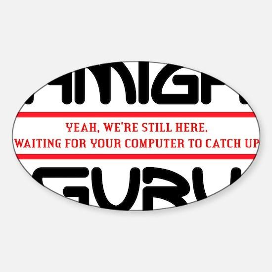 Amiga Guru - black print Sticker (Oval)