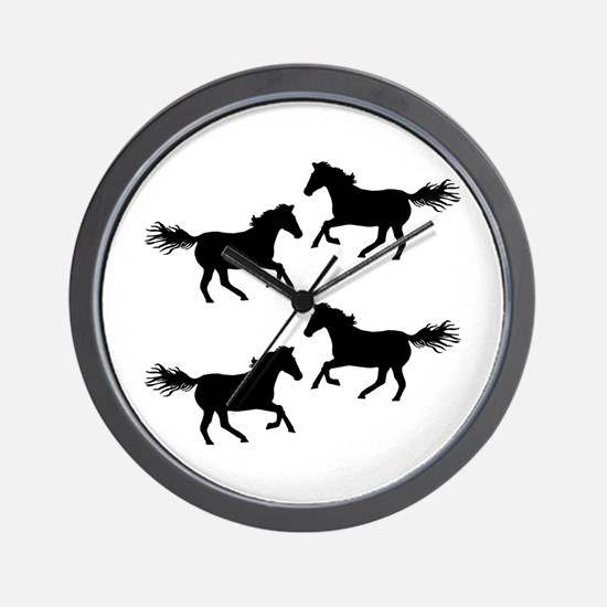 Black Wild Horses Wall Clock