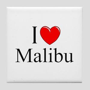 """""""I Love Malibu"""" Tile Coaster"""