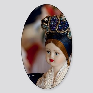 Dolls in traditional attireungarian Sticker (Oval)