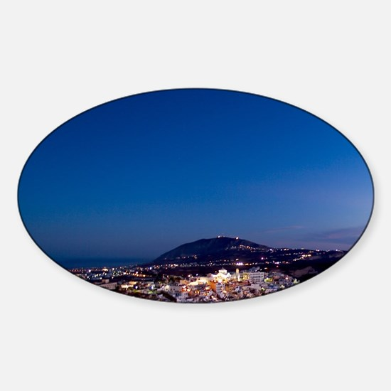 Aerial View of Beautiful Fira Santo Sticker (Oval)