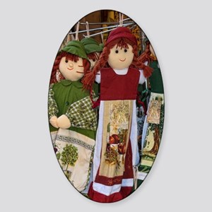 Close-up of doll souvenirs in Plaka Sticker (Oval)