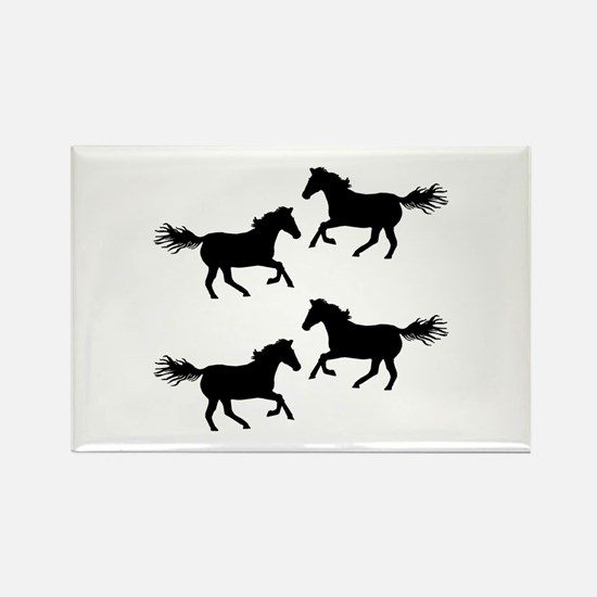 Black Wild Horses Magnets
