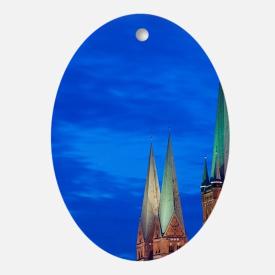 Lubeck. Petrikirche and Marienkirche Oval Ornament