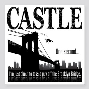 "Castle_BrooklynBridge_li Square Car Magnet 3"" x 3"""