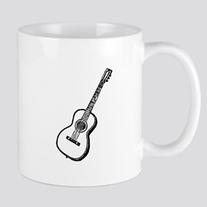 Antique Woodcut Guitar Mug