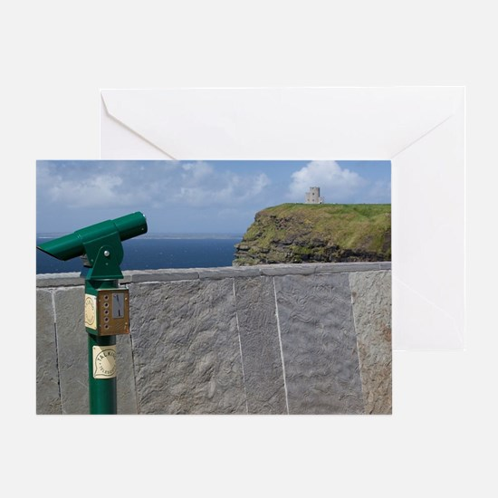 Green telescope at the Cliffs of Moh Greeting Card