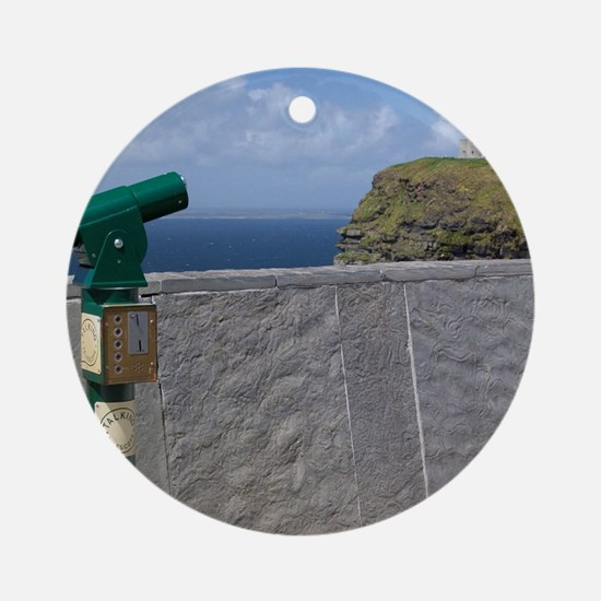 Green telescope at the Cliffs of Mo Round Ornament