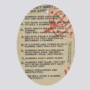 zombie-fact-sheet Oval Ornament