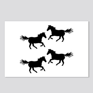 Black Wild Horses Postcards (Package of 8)