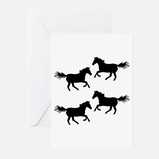 Black Wild Horses Greeting Cards
