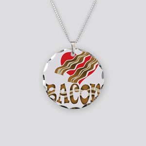 I Love Bacon White Necklace Circle Charm