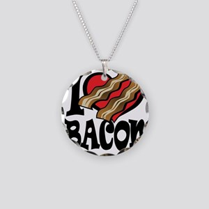 I Love Bacon 2 Necklace Circle Charm