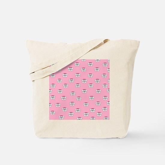 Skulls on pink flip flops Tote Bag