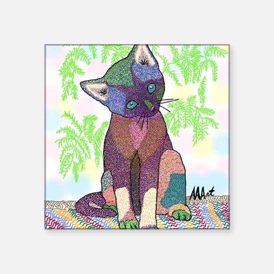 "Kitty Pet Star (Note Card) Square Sticker 3"" x 3"""