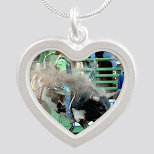 Black and White Bull Silver Heart Necklace