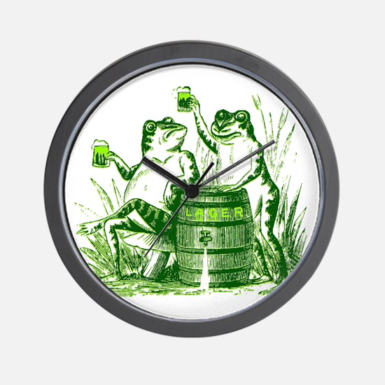 Drunk Frogs St Patricks Day Wall Clock