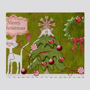 Merry_Christmas_baubles_pillow Throw Blanket