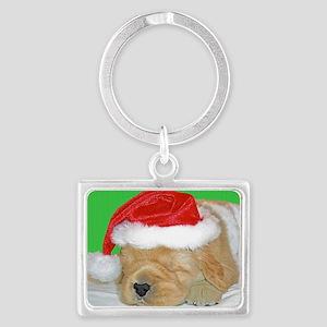 Golden Retriever Puppy Christma Landscape Keychain