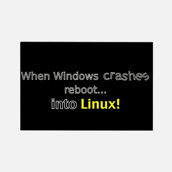 Reboot to Linux Rectangle Magnet
