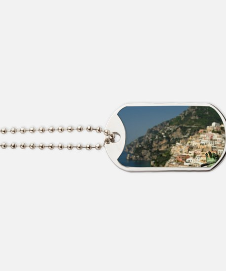 Positano. Colorful coastal overlook with  Dog Tags