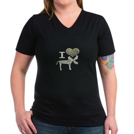 I heart Moose Women's V-Neck Dark T-Shirt