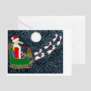 SantaDachshundPoster Greeting Card