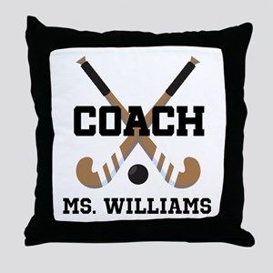 Personalized Field Hockey Coach Throw Pillow