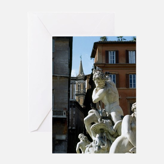 Fountain of Neptune. Piazza Navona.  Greeting Card