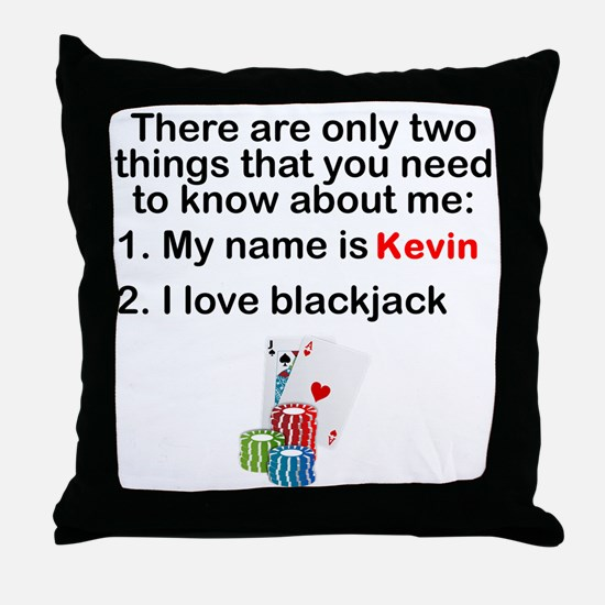 Two Things Blackjack Throw Pillow