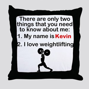 Two Things Weightlifting Throw Pillow