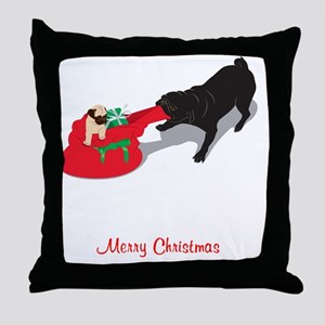 PugPullingBag Throw Pillow