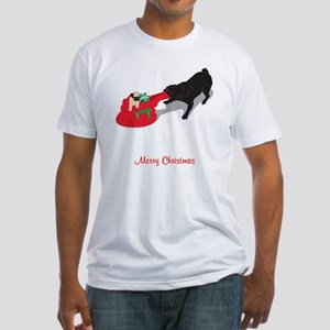 PugPullingBag Fitted T-Shirt