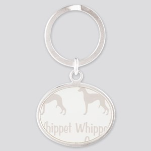 whippet_wht Oval Keychain
